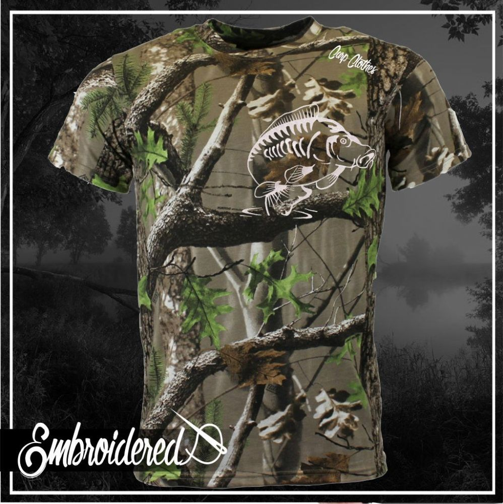 014 EMBROIDERED TREE CAMO T SHIRT